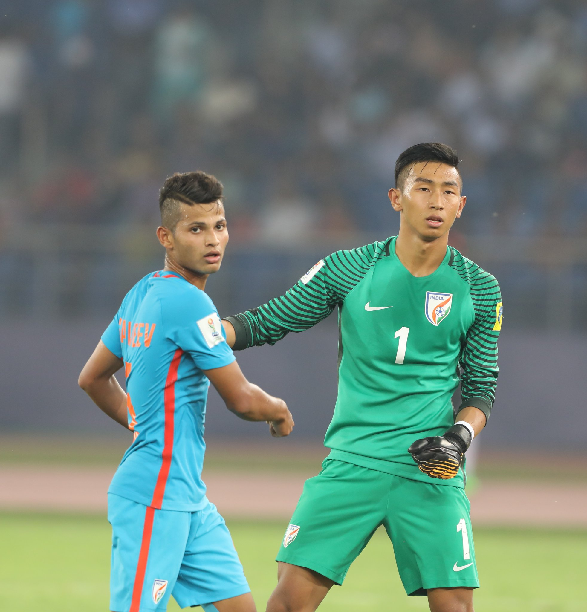 The assist-maker Stalin and the keeper Dheeraj. (Image courtesy: AIFF Media)
