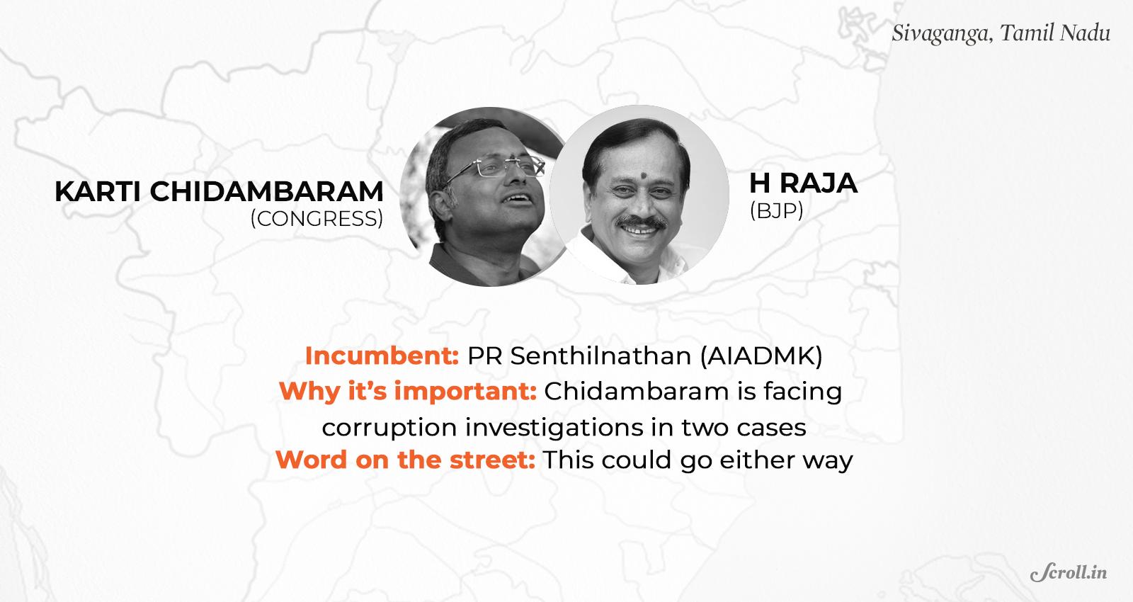 Sivaganga 2019 election: Karti Chidambaram faces tough fight