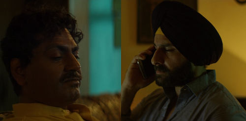 Nawazuddin Siddiqui as Ganesh Gaitonde and Saif Ali Khan as Sartaj Singh. Credit: Netflix.
