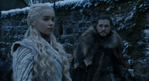 Daenerys Targaryan (Emilia Clarke) and Jon Snow (Kit Harington) in Game of Thrones. Courtesy HBO.