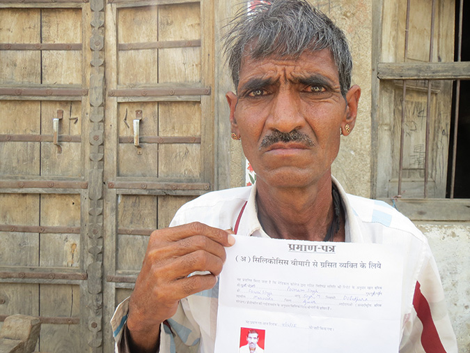 Poonam Singh has lost five family members to silicosis. In December 2015, Singh got certified as having silicosis by a medical board, that makes him eligible for Rs 1 lakh from government. But he has got no compensation from his employers.