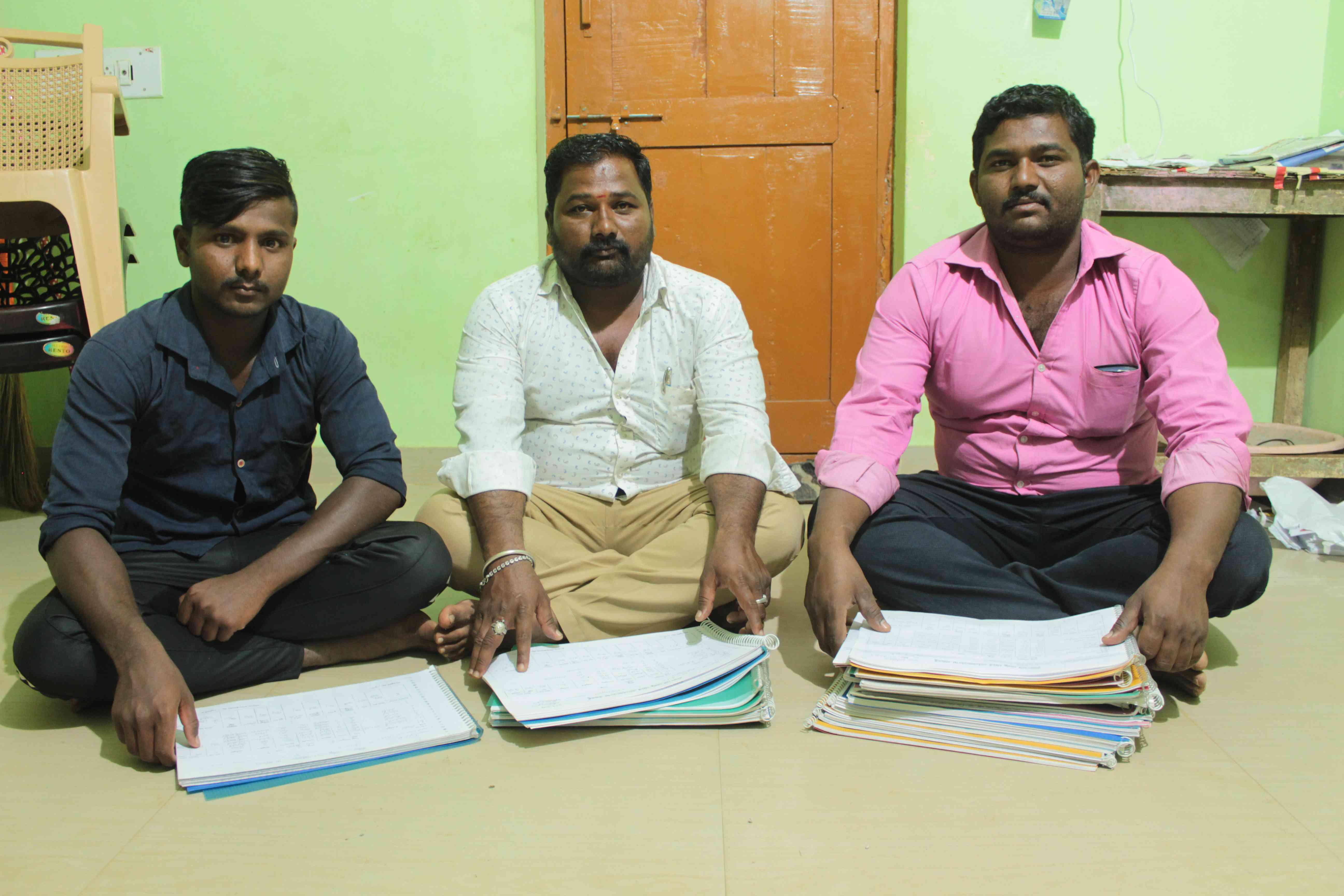 Marideva Mailappa Naduvinakeri with his teammates from Swabhimani Dalit Shakti in Ranebennur town.
