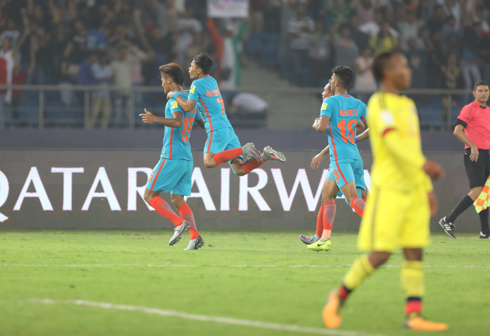 Goal celebrations at the World Cup, a first for India. (Image courtesy: AIFF Media)