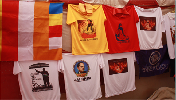 A T-shirt shop at the annual fair near Seer Govardhanpur, Varanasi, on Ravidas Jayanti. Photo credit: Santosh K Singh