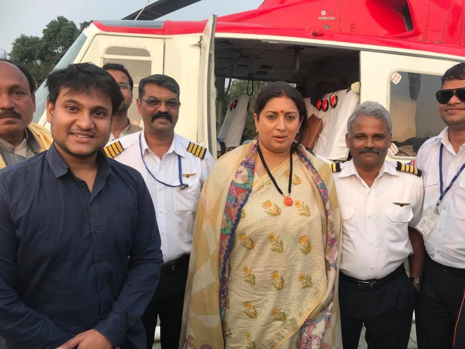 With Textiles Minister Smriti Irani. Facebook/Shivam Shankar Singh