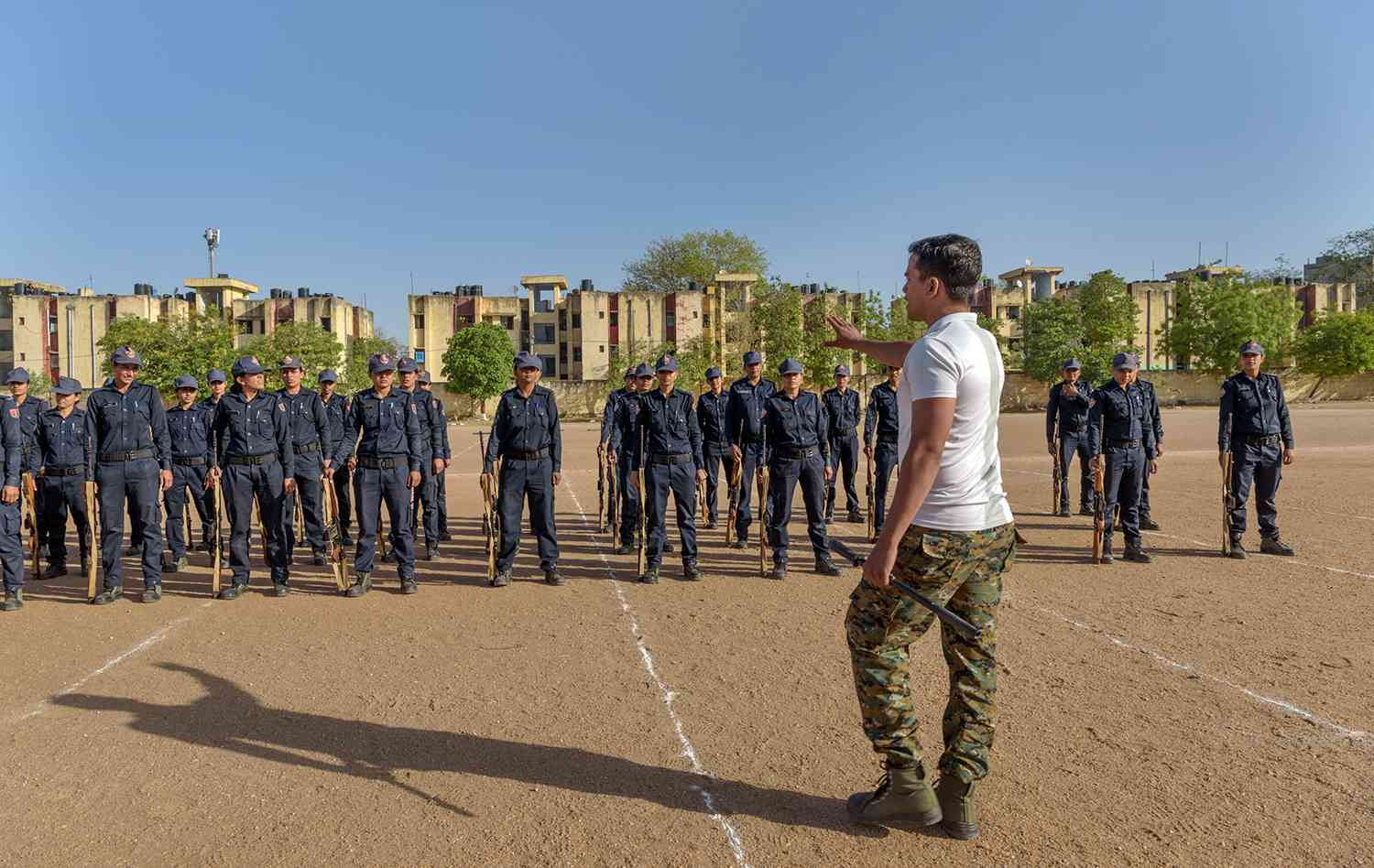 Members of the lady police patrol unit during training at the Reserve Police Lines. The constables are trained in martial arts, yoga, horse riding along with other modes of combat.
