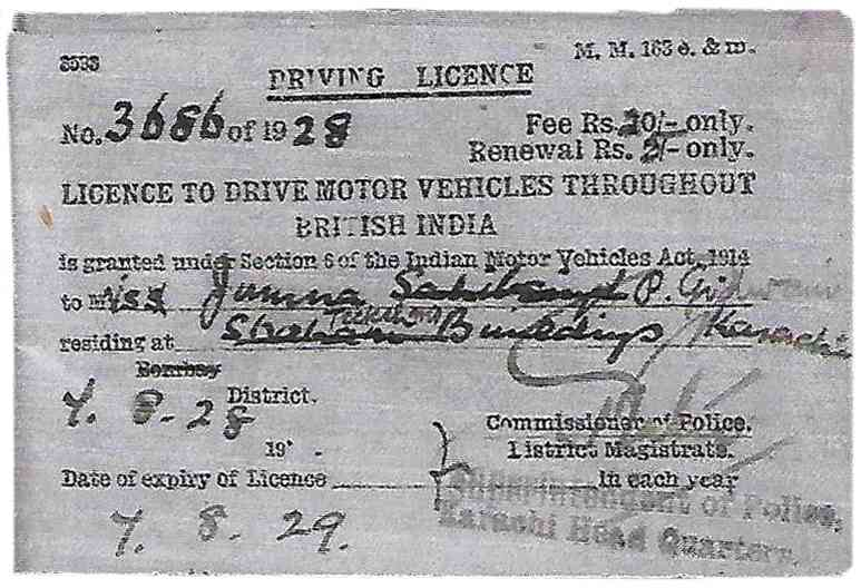 Jamna Pahlaj Gidwani's (nee Jamna Sahibsing Shahani) driving licence.