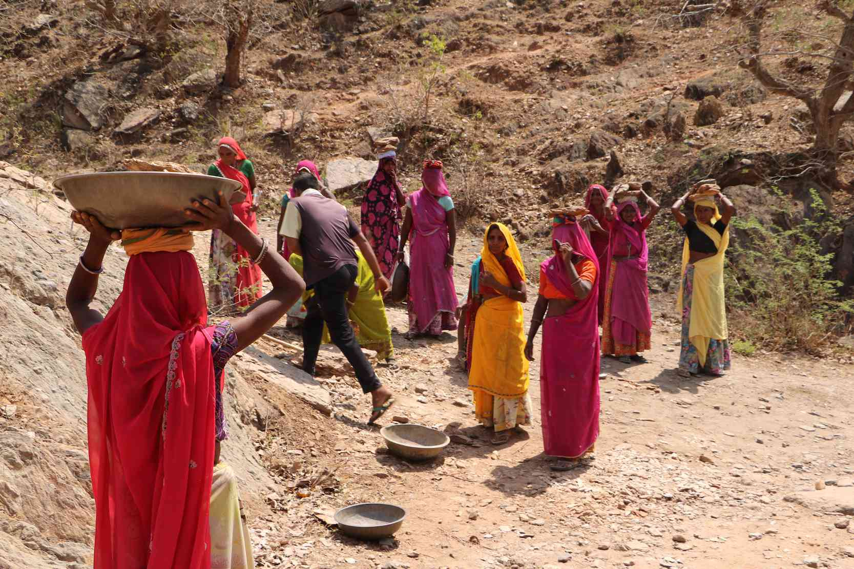 Rahul Meena was the sole man among a group of women workers at the NREGA worksite.