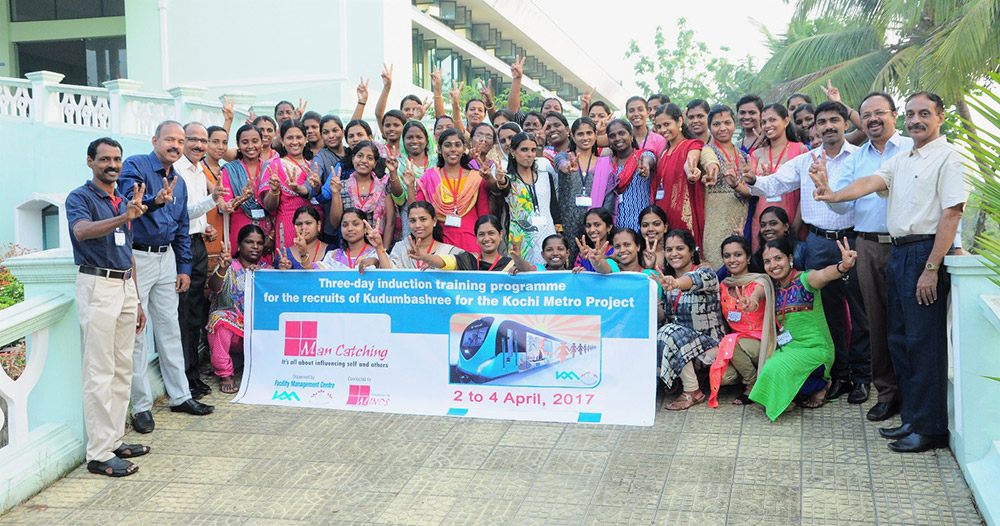Women recruits of Kochi Metro at a soft-skills training programme. (Credit: Kudumbashree Mission)