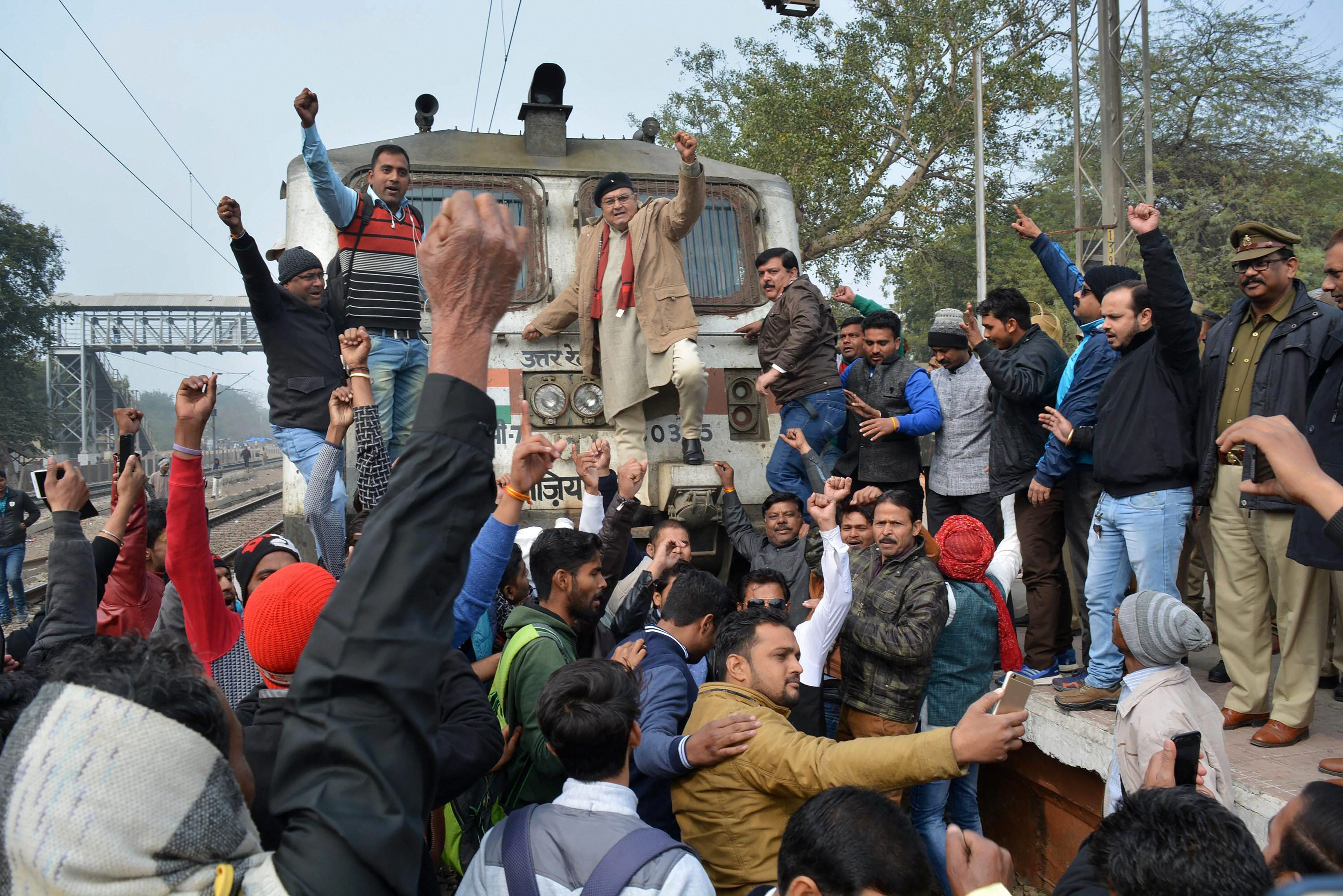 Members of a Rajput group block a train in Mathura as they hold agitations against Padmaavat. (Credit: PTI)