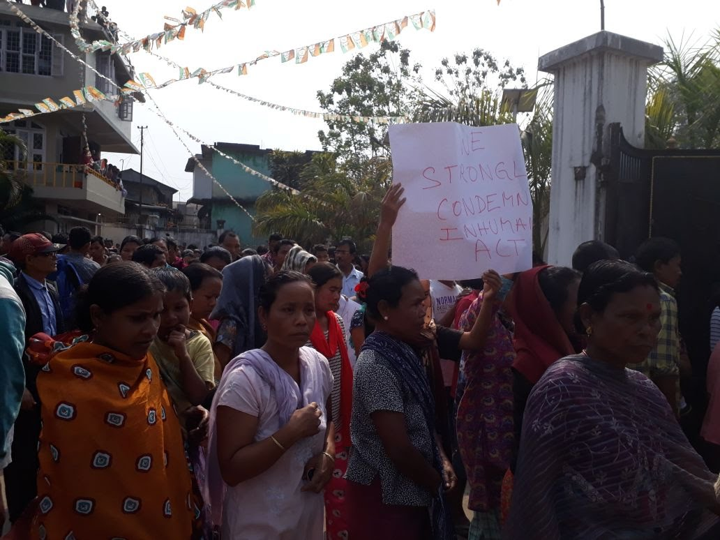 A crowd protests against Jonathone N Sangma's killing outside his home in Williamnagar.