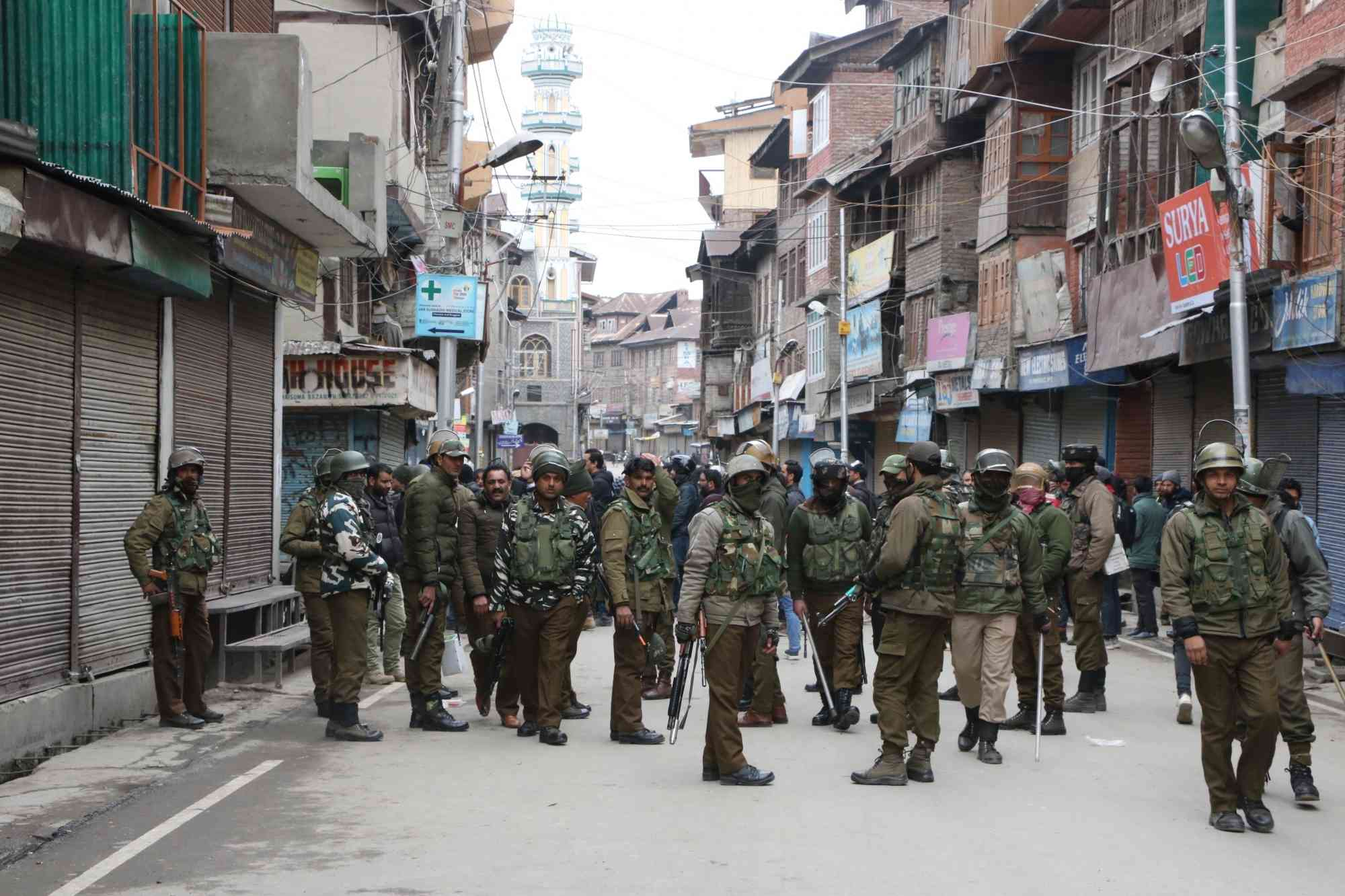 Security personnel on the streets of Srinagar on Tuesday. (Photo credit: IANS)