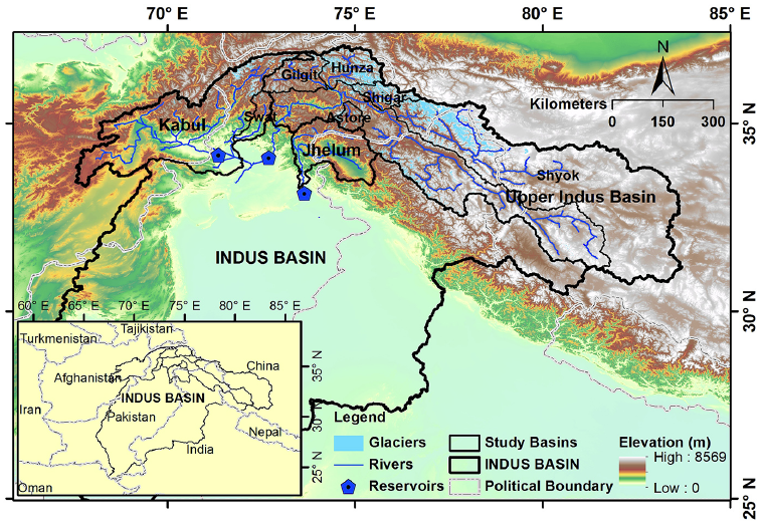 Map of Indus Basin. Source: Shabeh ul Hasson / Tobias Bolch