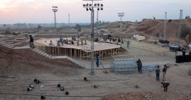 In 2014, Bilawal Bhutto used the historical Mohenjo-Daro site as the venue for the Sindh Festival. (Credit: AFP)