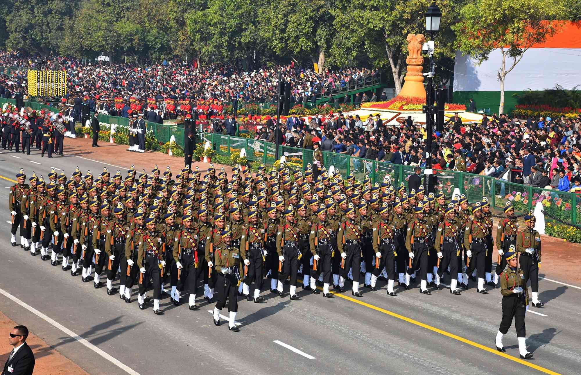 In a first, a woman officer led the Army Services Corps in the parade. (Photo credit: IANS)