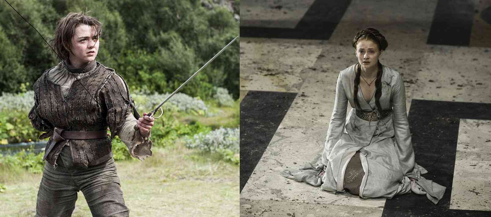 Arya Stark (Maisie Williams) and Sansa Stark (Sophie Turner) in Game of Thrones. Courtesy HBO.