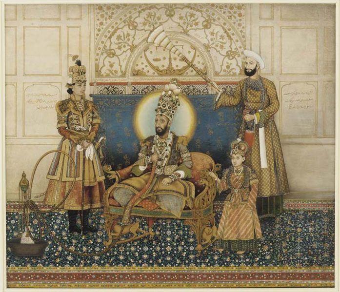 Bahadur Shah II enthroned with Mirza Fakhruddin, 1837-'38. By Ghulam Ali Khan (active 1817–55) (Smithsonian, Washington) [Public domain], via Wikimedia Commons