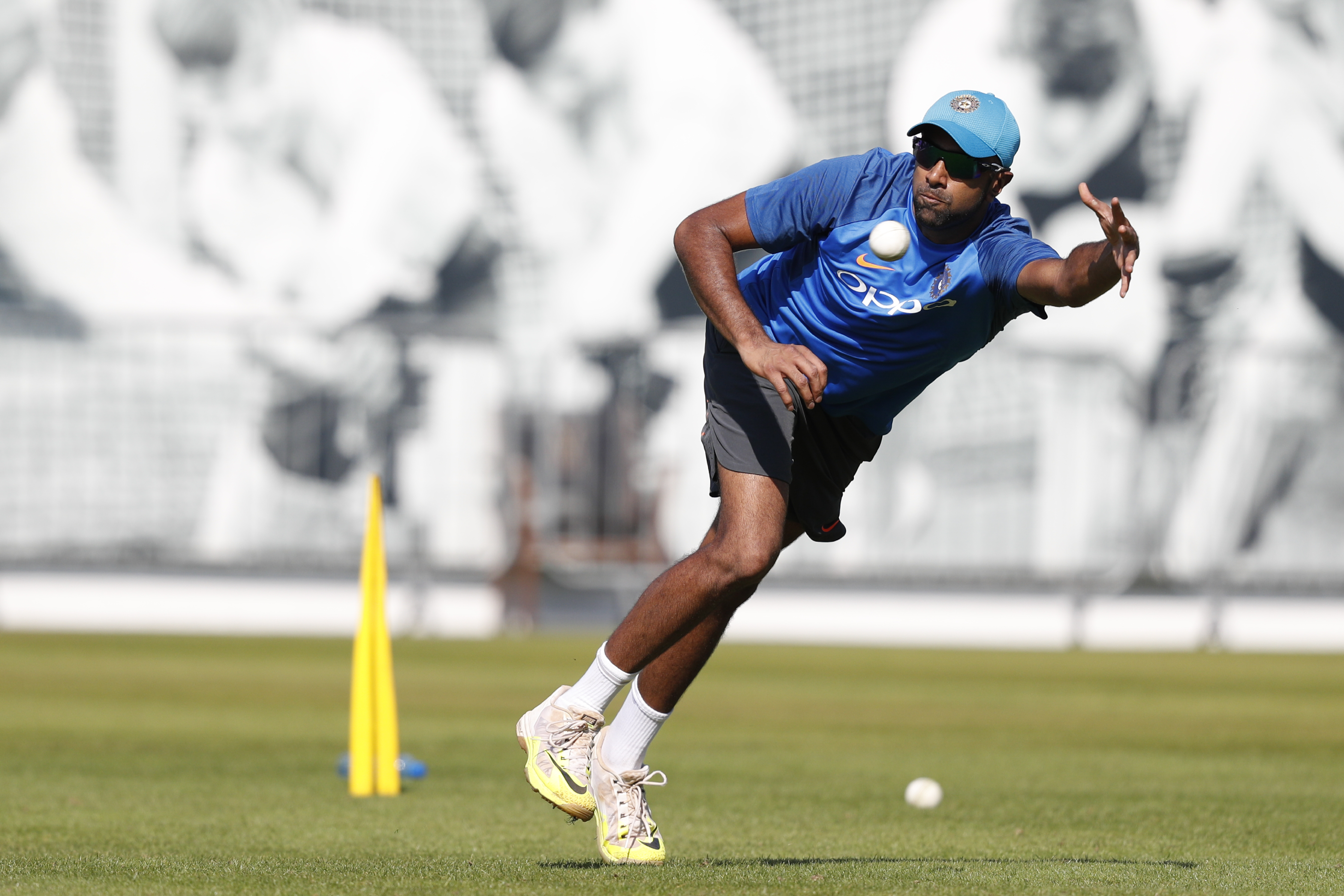 Ashwin was warming the bench for India's first two games in the Champions Trophy. He finally gets a chance today. Can he deliver? Photo: AFP