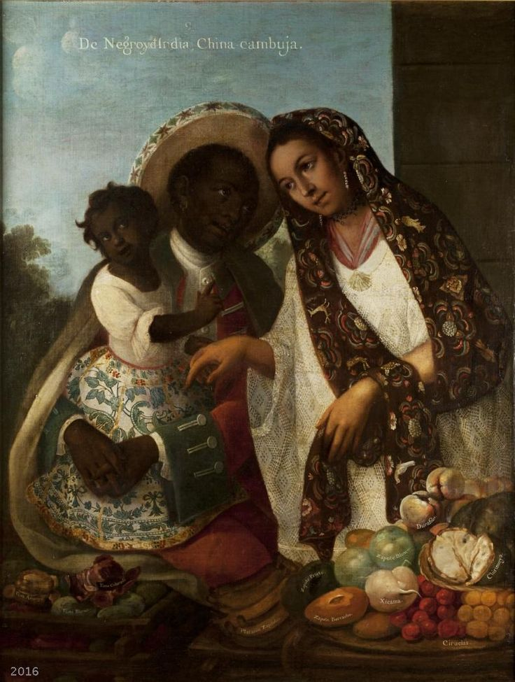 De negro e india, china cambuja, by Miguel Cabrera (1695–1768).  Photo credit: Museum of the Americas/Wikimedia Commons [License under CC BY Public Domain Mark 1.0]