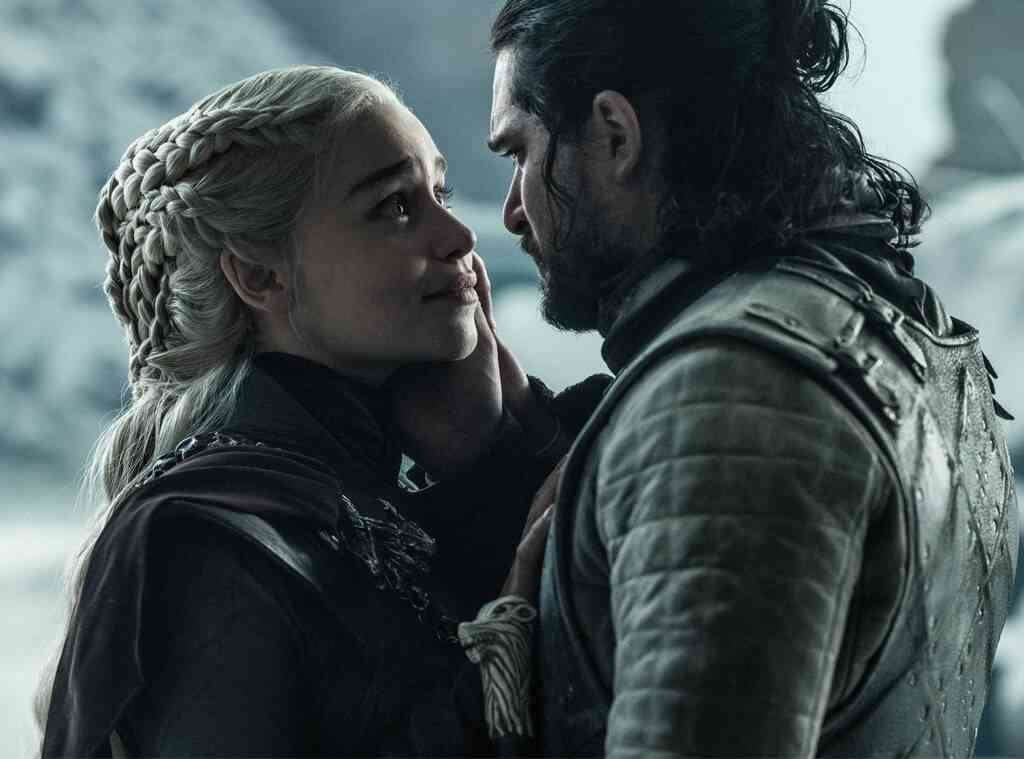 Daenerys Targaryen (Emilia Clarke) and Jon Snow (Kit Harington) in the season finale of Game of Thrones. Courtesy HBO.