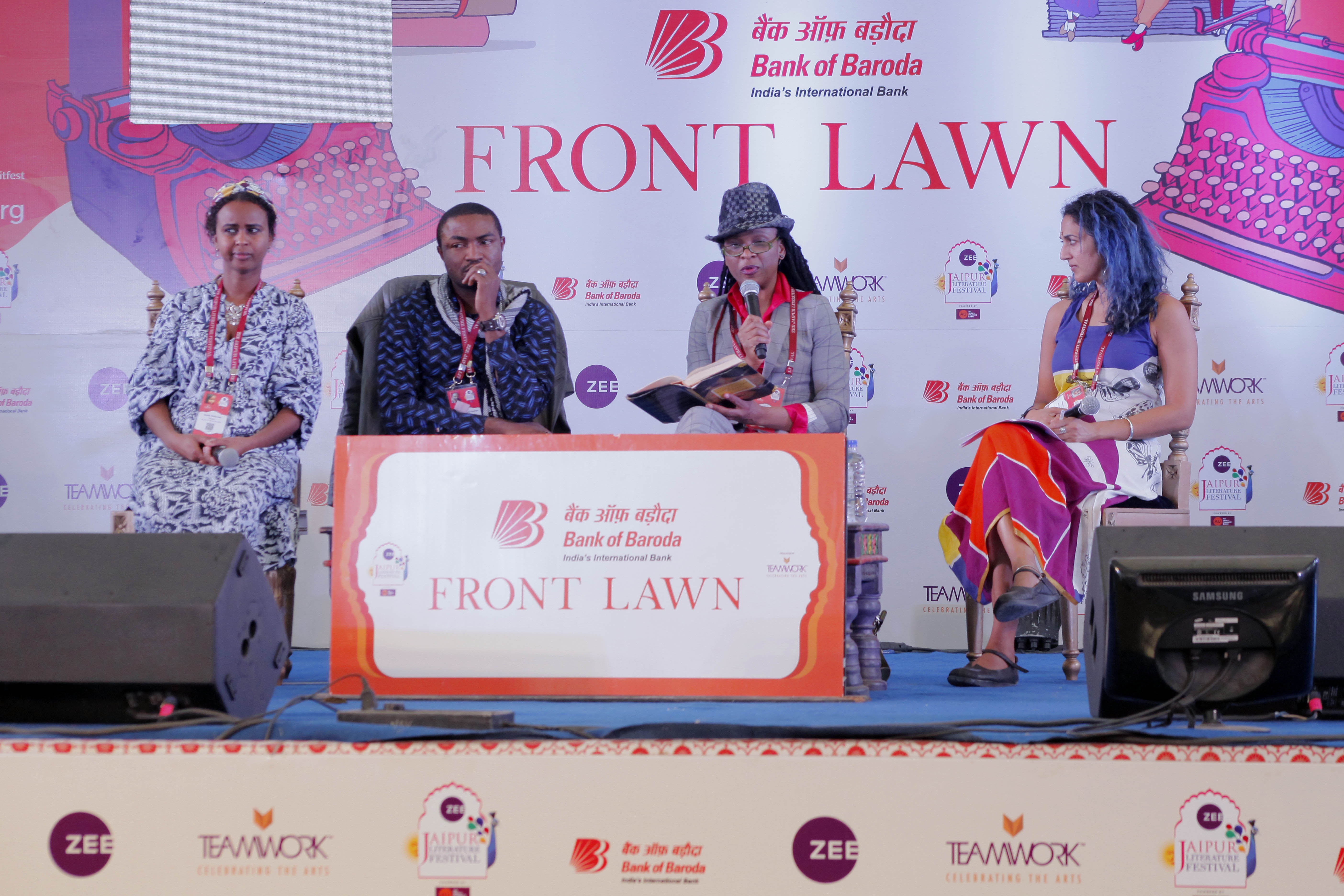 Abubakar Adam Ibrahim in conversation with Chika Unigwe, Nadifa Mohamed and Abeer Y Hoque at the Jaipur Literature Festival in January