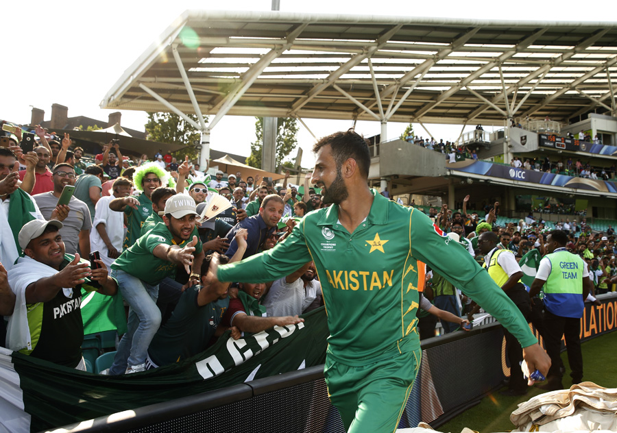 It's that winning feeling for Shoaib Malik. (Image credit: Reuters Staff)