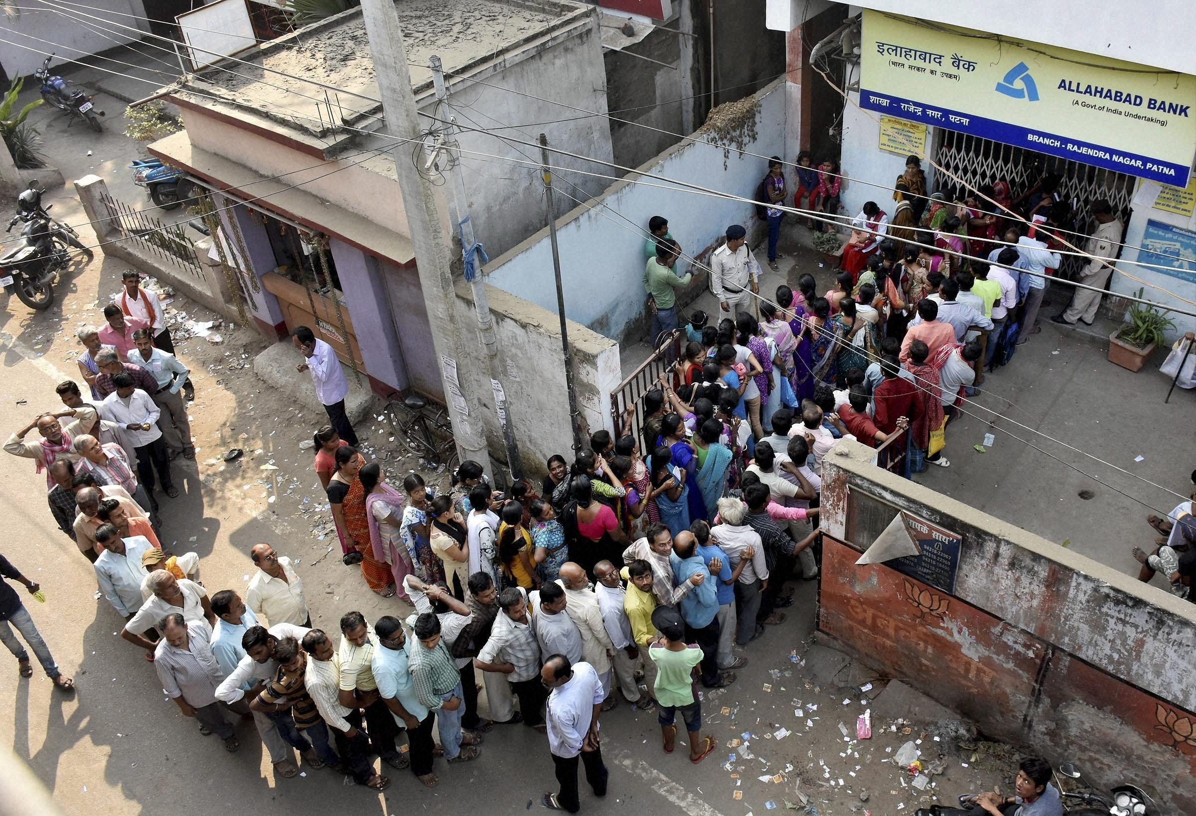 People queue up outside a bank in Patna. Source: PTI