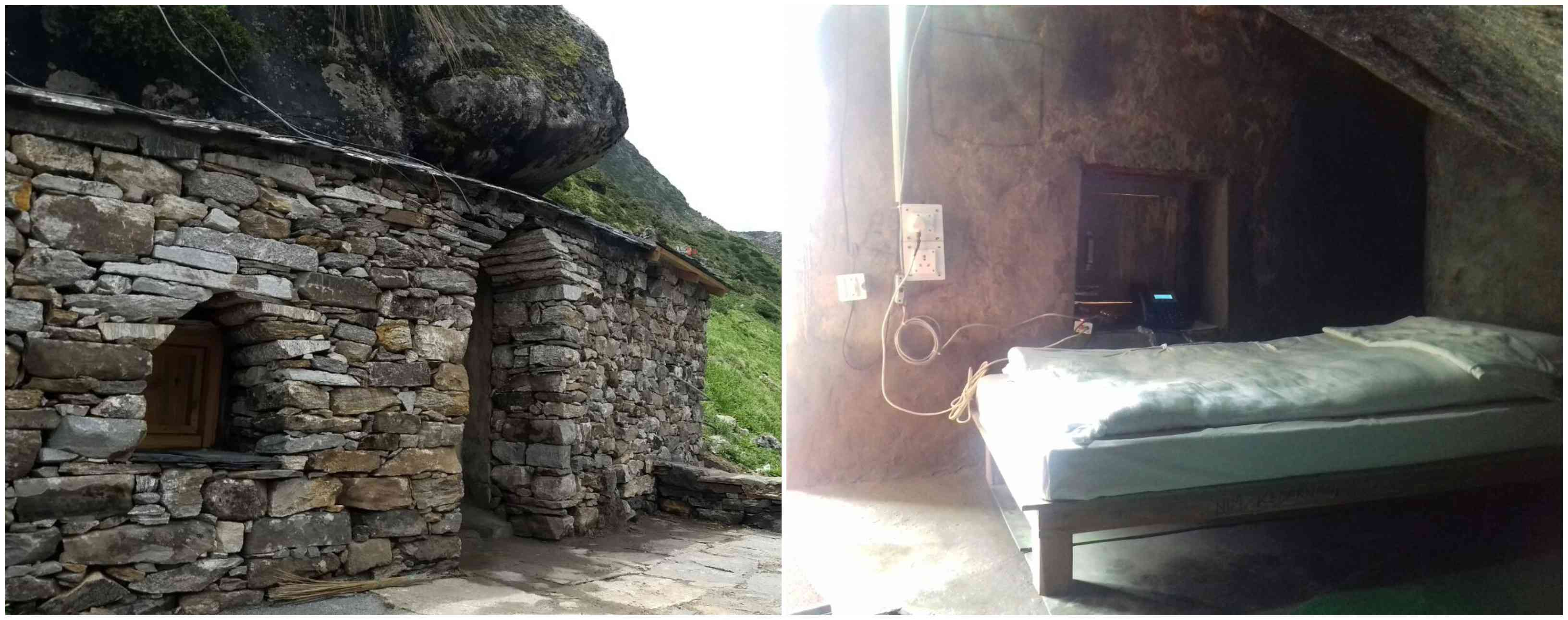 Outside (left) and inside Rudra cave. Courtesy Garhwal Mandal Vikas Nigam.