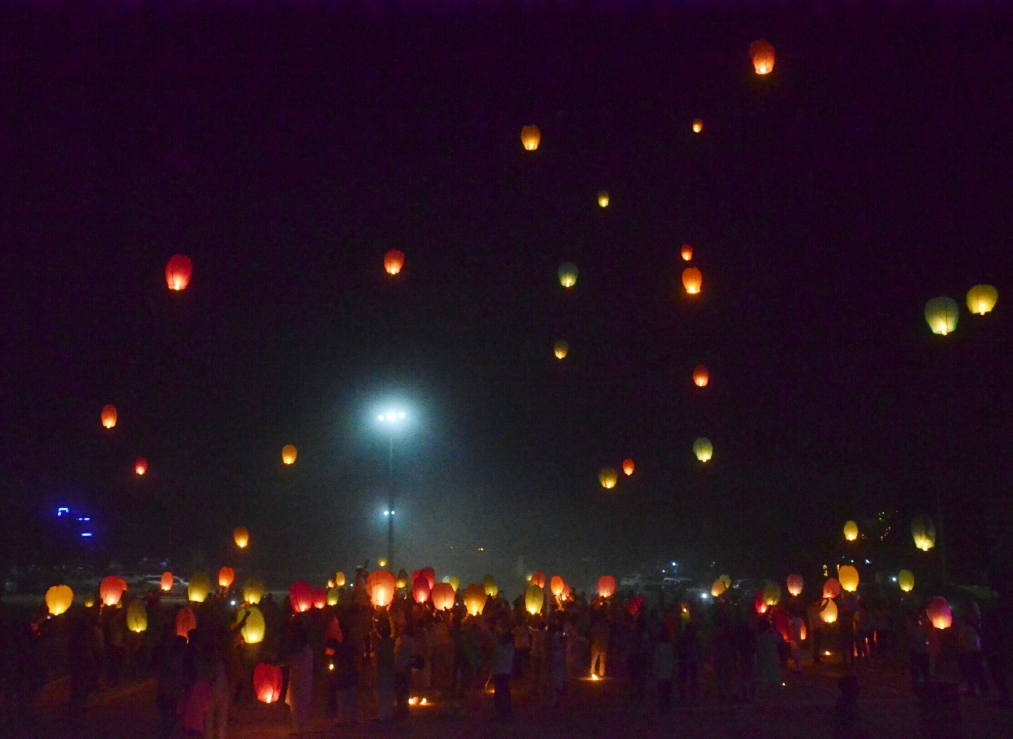 People release sky lanterns in Ghaziabad. (Credit: IANS)