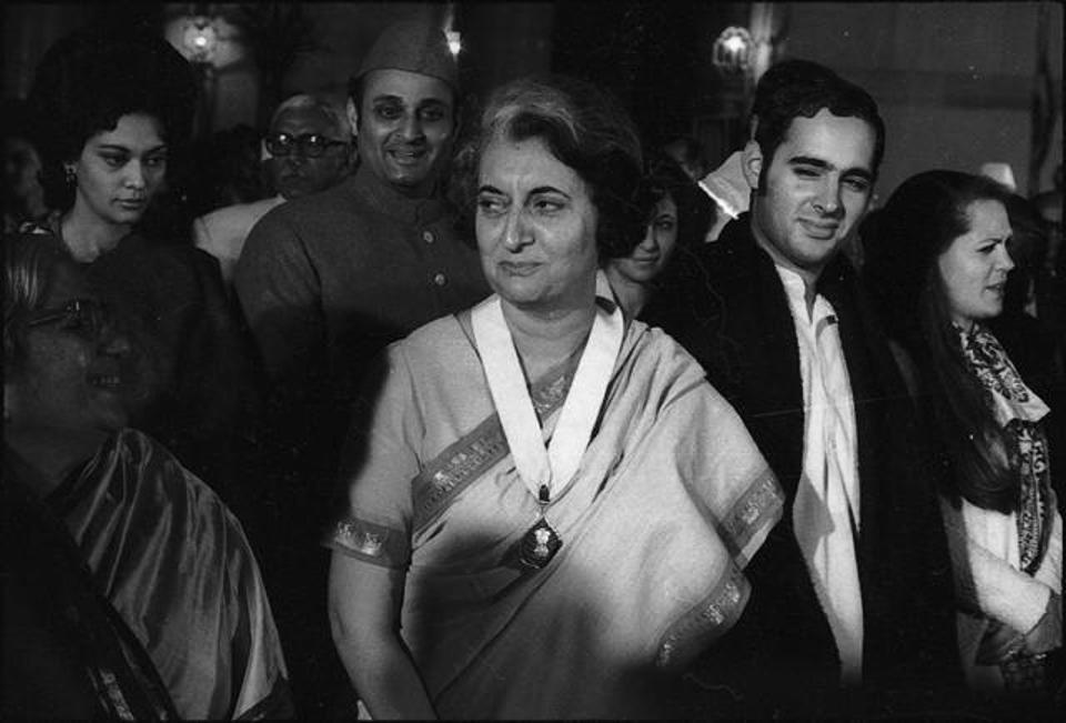 Indira Gandhi receiving the Bharat Ratna in 1972. Credit: Rane Prakash/HT Photo