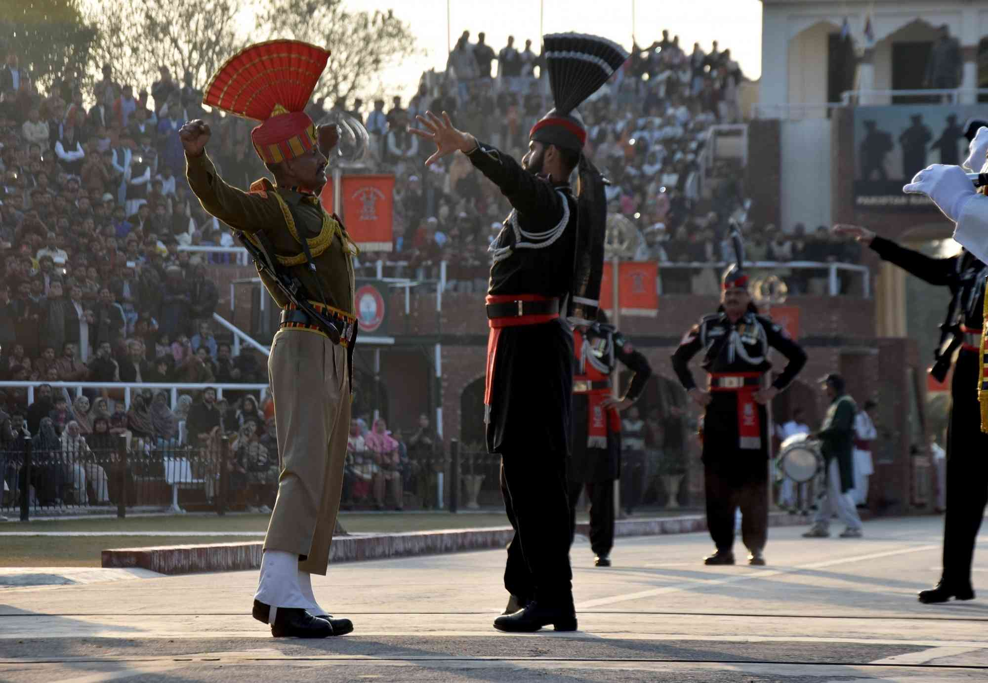 Border Security Force and Pakistani Rangers participate in the Beating Retreat ceremony at the Attari border on Republic Day (Photo credit: IANS)