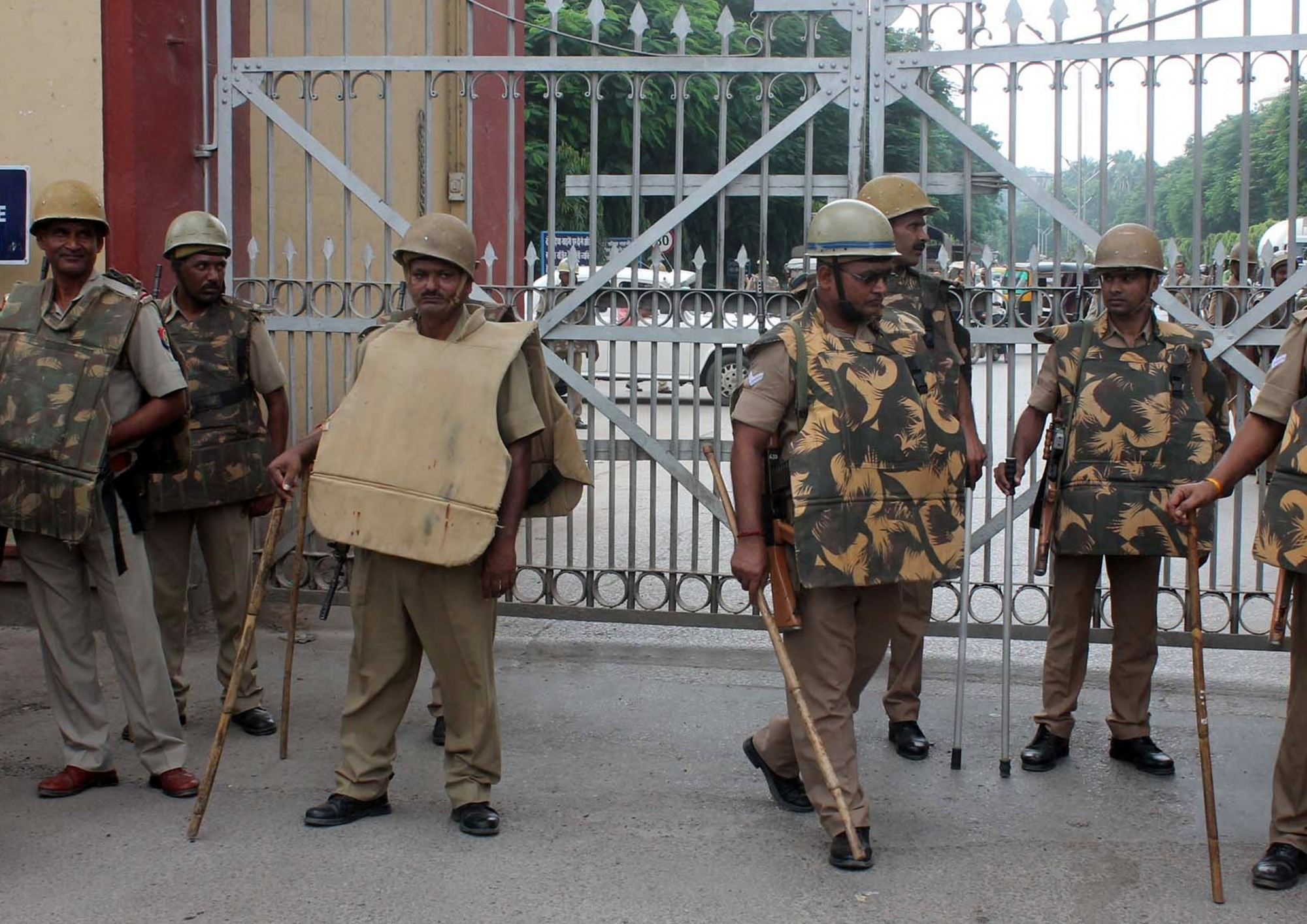 Security beefed up outside the Banaras Hindu University after police lathicharged the students while they were agitating against the molestation of a student inside the campus. Photo credit: IANS.