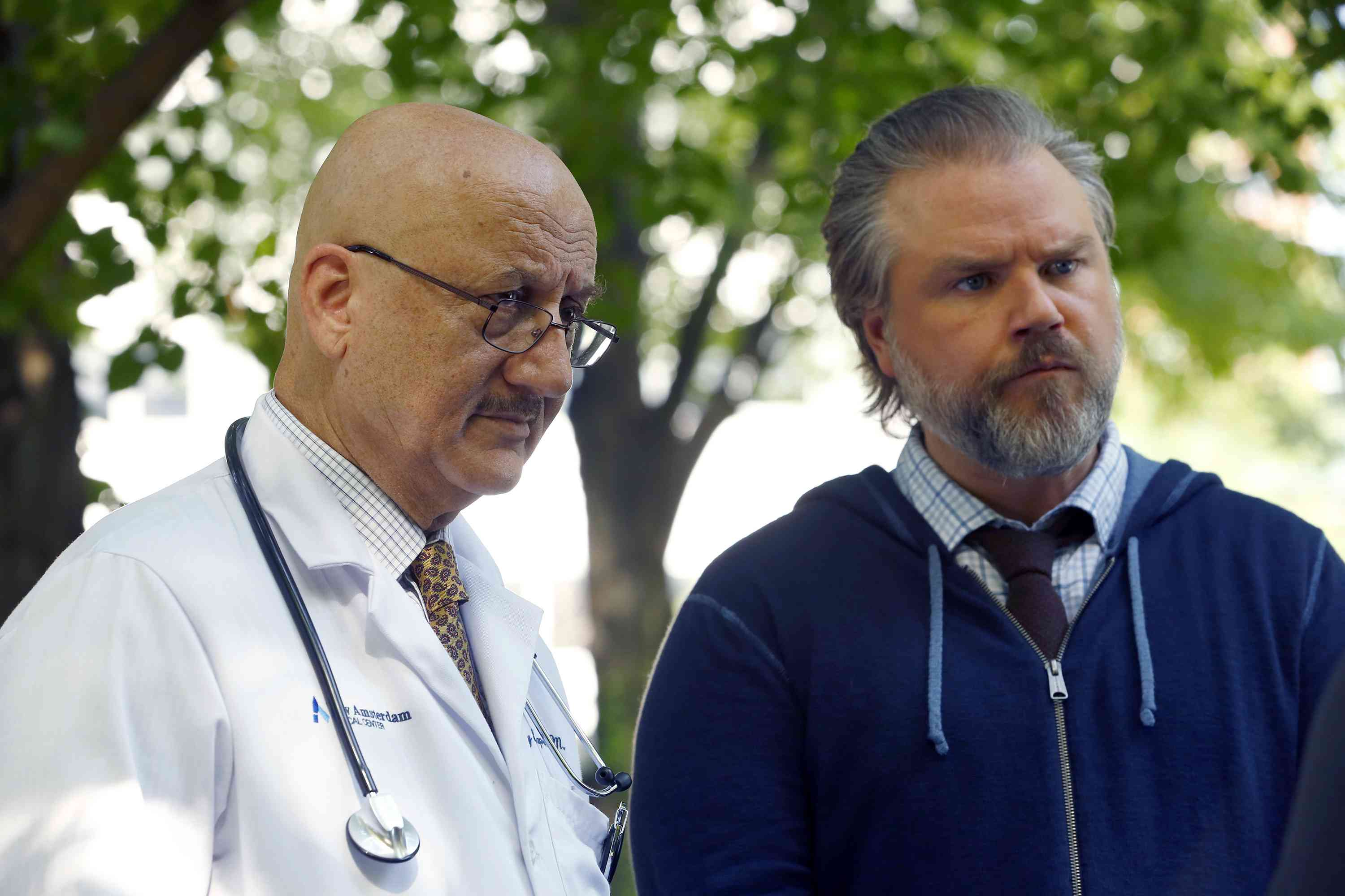 Anupam Kher and Tyler Labine in New Amsterdam. Courtesy Viacom 18.