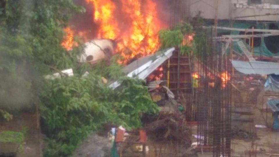Visuals of the burning plane. (Credit: HT Photo)
