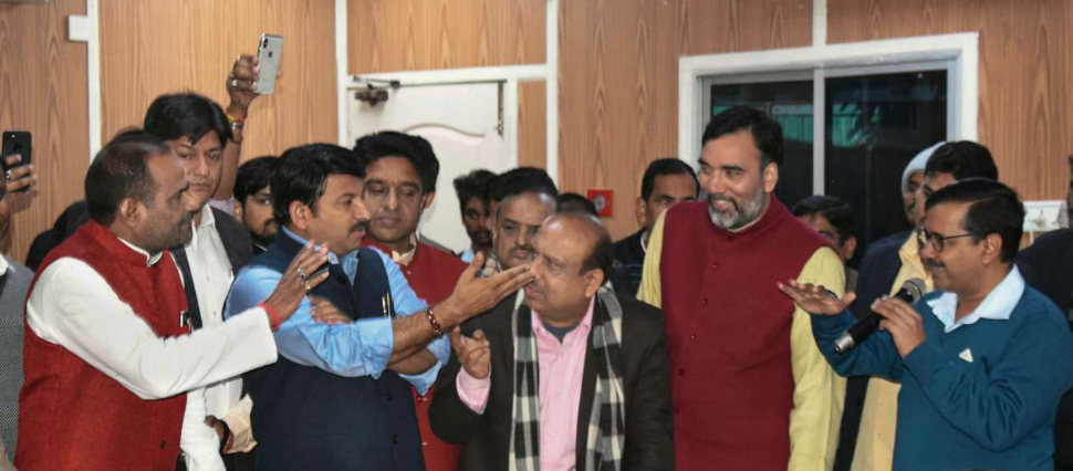 The BJP's Manoj Tiwari (third from left) at the all-party meeting in Delhi Chief Minister Arvind Kejriwal's residence. (Credit: PTI)