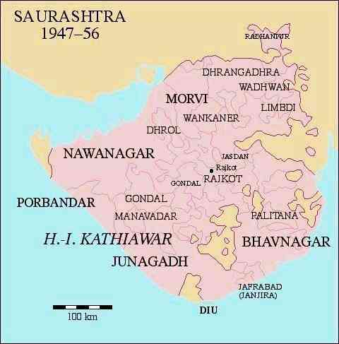 A map of Saurashtra in the late 1940s to early '50s, showing the areas where Bhupat was active. Photo credit: Dr Andreas Birken/Wikimedia Commons [CC Attribution-Share Alike 3.0 Germany license].