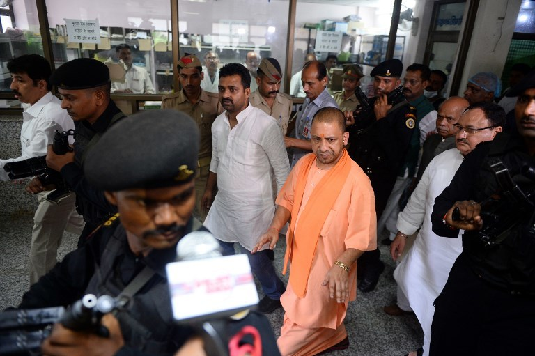 Uttar Pradesh Chief Minister Adityanath after his visit to the Baba Raghav Das Hospital in Gorakhpur on August 13. Photo credit: AFP