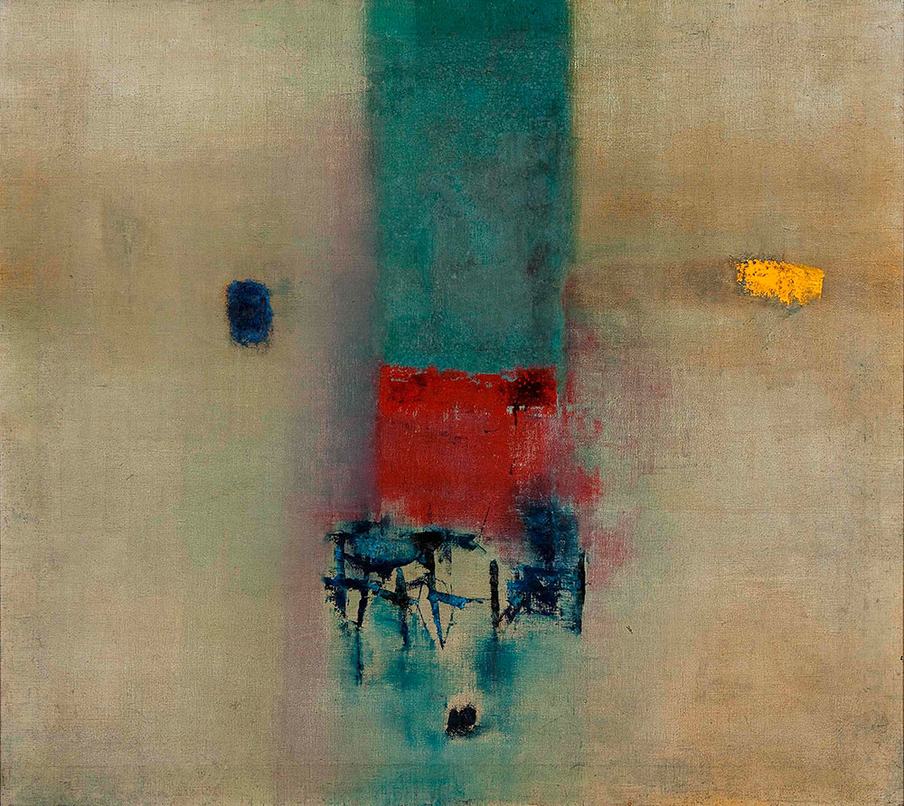 Gaitonde's painting No.6, oil-on-canvas, 44.9x39.9,1964. Courtesy: Collections of Tata Institute of Fundamental Research