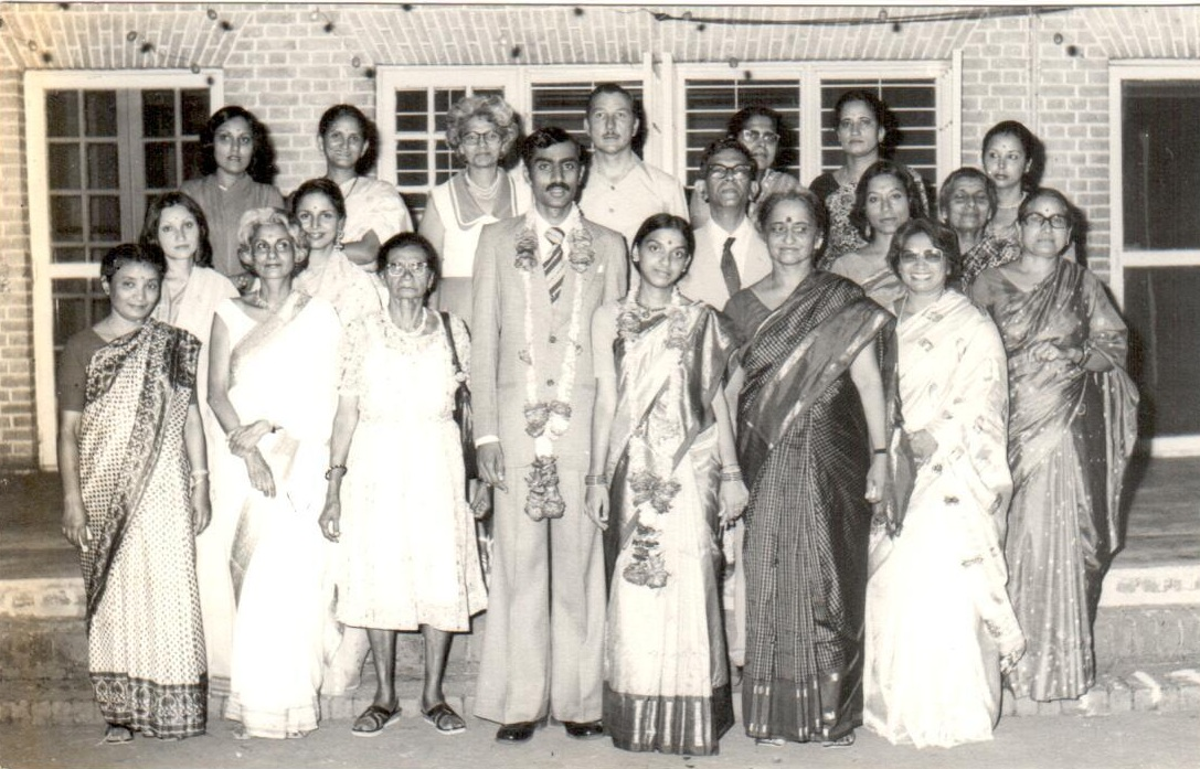 V Ramkumar (in bell bottoms) and his wife Vani received about 10 alarm clocks as wedding presents.