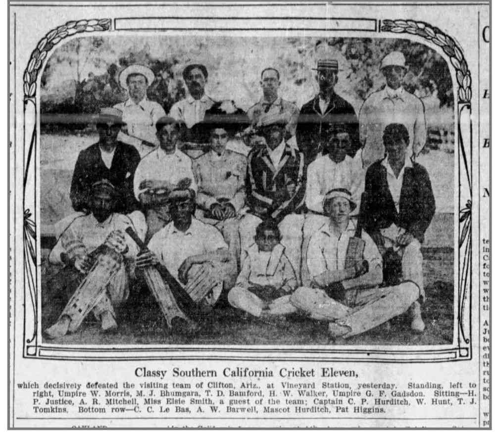 An article that appeared in 'The Los Angeles Times' on August 24, 1908, featuring the Southern California Cricket Eleven, that defeated the visiting team of Clifton, Arizona. Standing (top row, second from left) is Bhumgara.