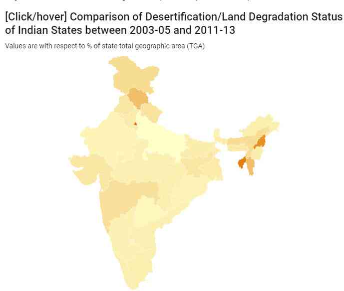 Map: Kartik Chandramouli/Mongabay. Source: Desertification and Land Degradation Atlas of India (SAC, ISRO)