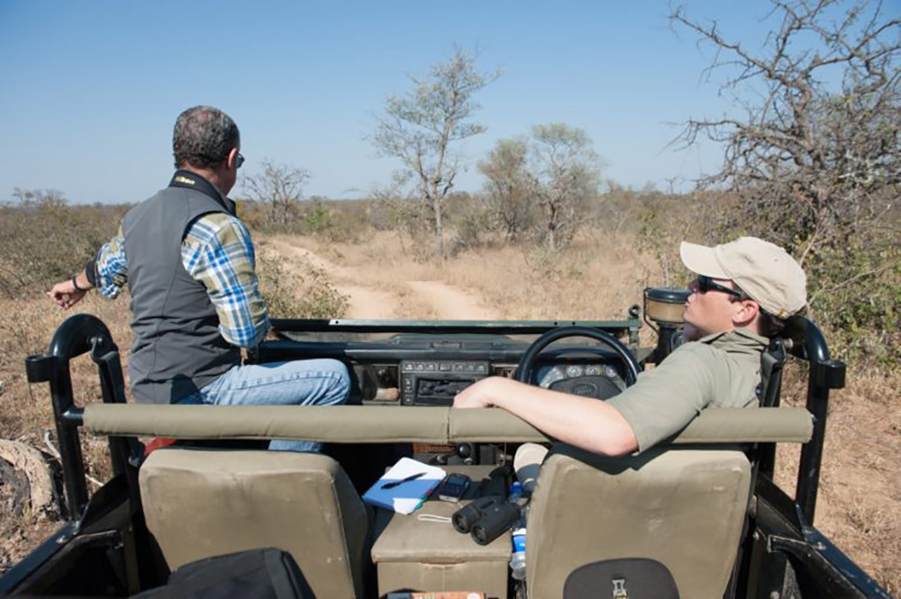 Brett Horley (right) with the author on the savanna of a private reserve near Kruger. Photo credit: Justin Catanoso for Mongabay