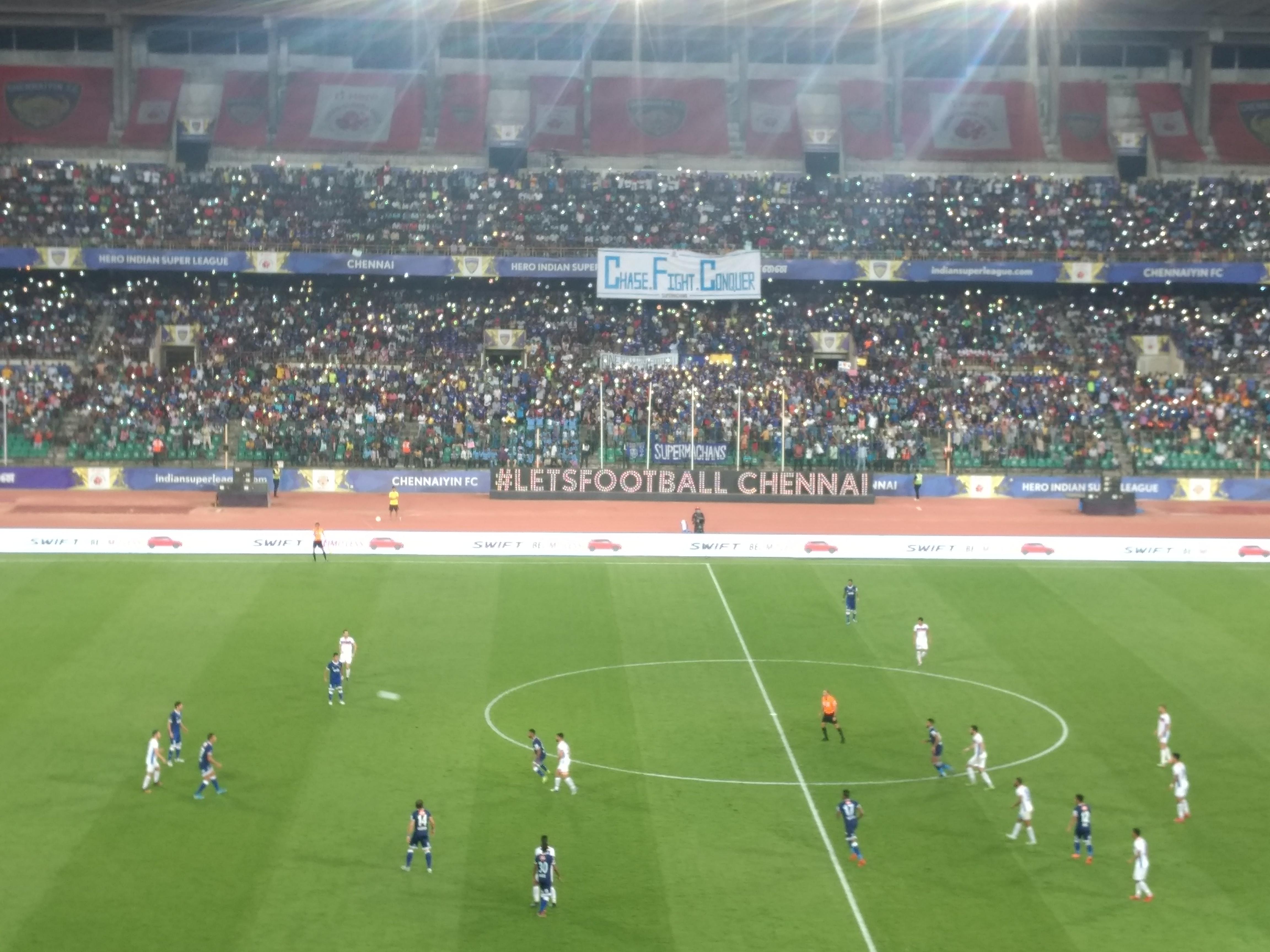 A view from the press box in at the Marina Arena | Photo courtesy: Vinayakk Mohanarangan