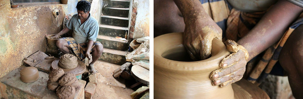 Ramesh turns the electric wheel (left), draws up the clay and shapes it (right).