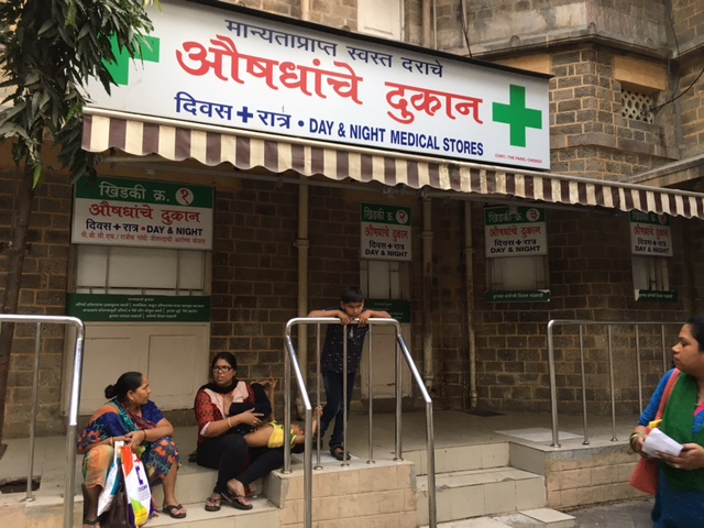 Chemist store inside KEM Hospital, Mumbai's largest public hospital, was shut from the outside to keep customers away. Photo: Priyanka Vora.