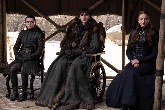 Arya (Maisie Williams), Bran (Isaac Hempstead Wright) and Sansa (Sophie Turner) in the Game of Thrones series finale. Courtesy HBO.