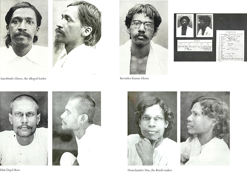 The 'Alipore Bomb Case', also know as the Manicktola Bomb Case, was one of the most important court trials during 1908-1909 in the history of India's  Independence movement. Here are 4/49 accused of bombing and nationalistic activities. Photographed after being arrested. Calcutta District, 1908.  Images courtesy: Nehru Memorial Museum and Library, New Delhi/Photographer Unknown.