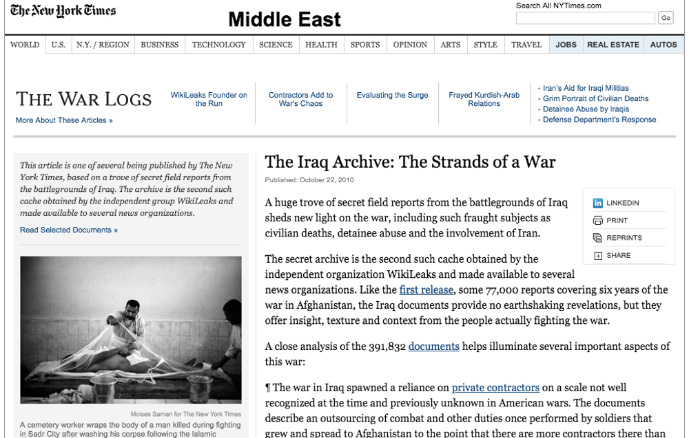The New York Times introduction to its publication of WikiLeaks material on the Afghan war. Photo Credit: New York Times screenshot