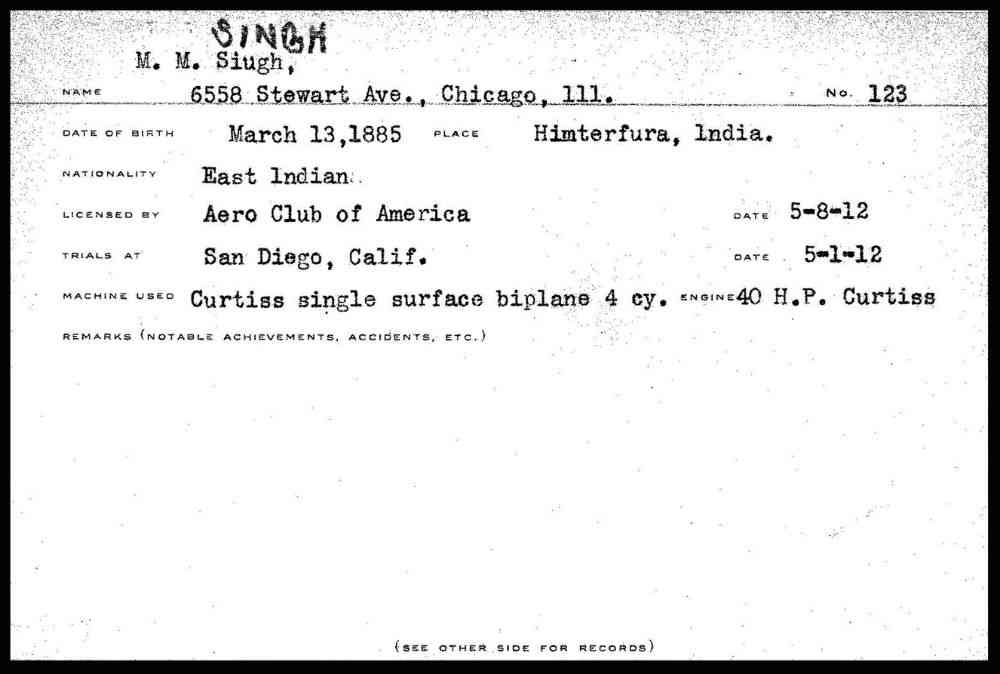 The pilot's license of Mohan Singh, 1912.