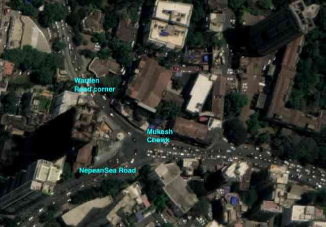 A satellite image of the narrow roads onto which traffic from the eight-lane coastal road will disburse. (Photo courtesy: Citizens for Responsible Development).